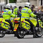 Police officers on motorcycle patrol in central London