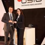 David Ottewill receives the Contribution to the Industry Award from BSIA chairman Pauline Norstrom