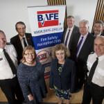 Left to Right: Alasdair Hay (Chief Fire Officer, SFRS), Stephen Adams (CEO, BAFE), Clare Adamson MSP, Elaine Murray MSP, Michael McMahon MSP, Douglas Barnett (chairman, BAFE), Nigel Don MSP and Lewis Ramsay (Assistant Chief Fire Officer, SFRS)