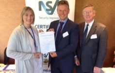 Left to Right: Emma Dowell (CCTV manager at Conwy Borough Council) is presented with the Certificate of Compliance by Tony Porter (the UK's Surveillance Camera Commissioner who's standing alongside Tony Weeks (head of technical services at the NSI). The presentation took place at the CCTV User Group Conference on 24 May