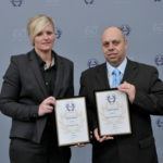 Receiving RoSPA's Gold Awards (Left to Right): Nichola Maher of Chubb Systems and Mark Redding, head of EH&S at Chubb Fire & Security