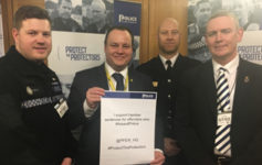 Left to Right: PC Bruce, SNP MP Chris Stephens, Nick Smart and Calum Macleod