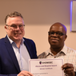 Showsec 'Above and Beyond' Award winner Don Barrett (right) pictured with managing director Mark Harding