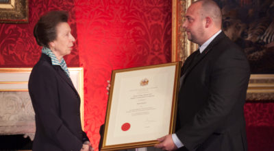 Her Royal Highness The Princess Royal presents Mark Barber of Securitas with his Highly Commended certificate