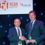 Paul Tennent (left) receives the Contribution to the Industry accolade on behalf of his late father Mike Tennent from BSIA chairman Dirk Wilson