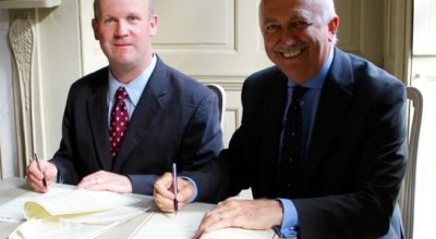 Don Erickson of the SIA (left) and the BSIA's CEO James Kelly signing the Memorandum of Understanding
