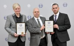 Left to Right: Nichola Maher, Mark Redding and Paul Cosentino receiving the awards for Chubb