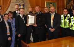 Chief constable Stephen Watson and University of Sheffield president and vice-chancellor Professor Sir Keith Burnett pictured with Richard Yates (head of security) and the University of Sheffield's Security Team