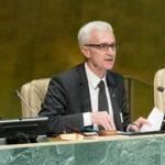 Interpol's Secretary General Jürgen Stock (centre) addresses delegates at the United Nations