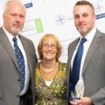 Dan Elstone (left) and Lee Garner MSyI (right) pictured with Baroness Ruth Henig CBE CSyI, presenter of the Institute President's Award