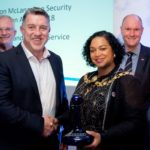 Kevin Thomas (of the Cornwall Fire and Rescue Service) being presented with the 2018 Gordon McLanaghan Award by Cleo Lake, the Lord Mayor of Bristol (Photo: Jon Craig)