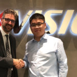Trevor Lee (left), marketing and brand director of Webeye Limited, meets with Jasper Zhao (channel sales manager for Hikvision UK & Ireland)