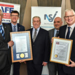 Nigel Walton of Abbot Fire Group (centre) is awarded the NSI and BAFE certificates. Left to Right: Richard Jenkins (NSI CEO), John Davidson (NSI's head of field operations for systems), Nigel Walton (Abbot Fire Group), Gary Hurst (NSI auditor) and Chris Auger (BAFE schemes manager)