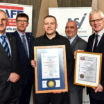 Andy Pickup of Nobel Fire Systems (centre) is awarded the NSI and BAFE certificates. Left to Right: Richard Jenkins (NSI CEO), John Davidson (NSI's head of field operations for systems), Andy Pickup (Nobel Fire Systems), Gary Hurst (NSI auditor) and Chris Auger (BAFE schemes manager)