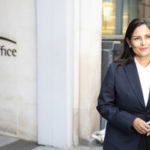 Patel meets the press outside the Home Office's Marsham Street headquarters in central London