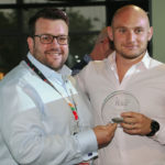 Adam Down (left), CEO of crowd control specialist Foam Hand, presented the award to Rosehill Security's sales manager Dalton Marshall
