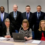 The NSI Services Auditor Team - Back Row Left to Right: Vernon Erekosima, Ian Sanderson, Trevor Underdown, Al Kyte and Neil Ohren. Front Row Left to Right: Clare Crump, Jo Fox, Margaret Durr (Head of Field Operations – Services) and Suvi Foy
