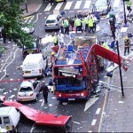 The devastating aftermath of the terrorist attacks in London on 7 July 2005