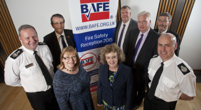 Left to Right: Alasdair Hay (Chief Fire Officer, SFRS), Stephen Adams (CEO, BAFE), Clare Adamson MSP, Elaine Murray MSP, Michael McMahon MSP, Douglas Barnett (chairman, BAFE), Nigel Don MSP and Lewis Ramsay (Assistant Chief Fire Officer, SFRS)