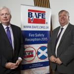 Douglas Barnett (left, chairman of BAFE) and Michael McMahon MSP at Holyrood