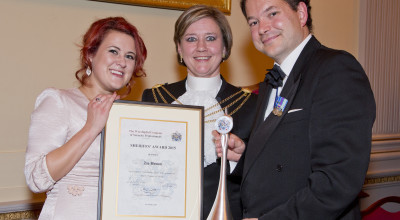 Left to Right: Zoe Brown, Dr Christine Rigden (Sheriff of The City of London) and Stuart Seymour CSyP (Master of The Worshipful Company of Security Professionals 2015-2016)