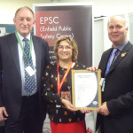 Left to Right: SSAIB CEO Alex Carmichael, Councillor Yasemin Brett and Alan Gardner, manager of Enfield Council's Public Safety Centre