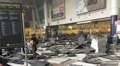 The devastating aftermath at Zaventem International Airport following the terrorist attack