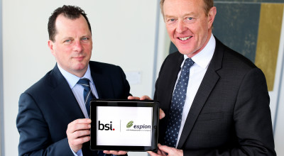 Espion's Colman Morrissey (left) and Howard Kerr, CEO at the BSI