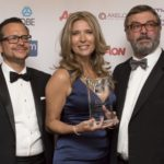 Joanna Makomaski pictured with Jose Morago and, right, Dr Ian Livsey (CEO at the IRM)