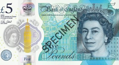 The new polymer £5 note soon to be issued by the Bank of England