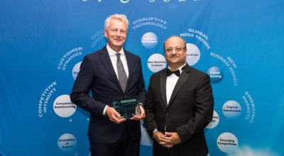 Peter Hallberg of Siemens Building Technologies Division (left) accepts the award from Aroop Zutshi, global president and managing partner at Frost & Sullivan