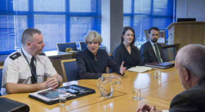 Prime Minister Theresa May holds counter-terrorism discussions with senior police officers at Govan Police Station in Glasgow