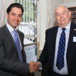 James Sarner MSyI (left) receives the George van Schalkwyk Award from Bruce Braes