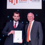 The Westgrove Group's Tom Lewis (left) picks up his certificate for being national winner in the Service to the Customer category from the BSIA's CEO James Kelly