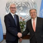 Interpol's Jürgen Stock (left) and António Guterres of the United Nations