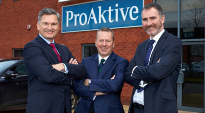 Left to Right: Andy Morley and Ian Haycock from ProAktive Risk Management pictured with Jonathan Craig from Mercia Fund Managers