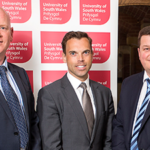 Economy Secretary Ken Skates (centre) pictured with Gareth Williams of Thales (right) and Paul Harrison of the University of South Wales