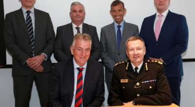 Back Row (Left to Right): Paul Barnard and David Ward (Ward Security), David Evans (Global Aware) and Adrian Moore (VSG Security). Front Row (Left to Right): Richard Woodford (Corporation of London) and City of London Police Commissioner Ian Dyson
