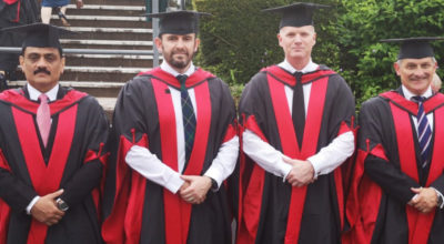 From Left to Right: New MSc graduates Khurram Malik, Andrew Protheroe, Christopher Rook and Robin Watson