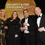 Left to Right: Awards host Tess Daly, Naomi Austen and Duaine Taylor of Axis Group Integrated Services and Jeff Johnson from SSR Personnel